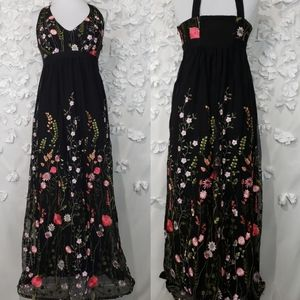 INC Floral Embroidered Maxi Halter Dress Sz Small